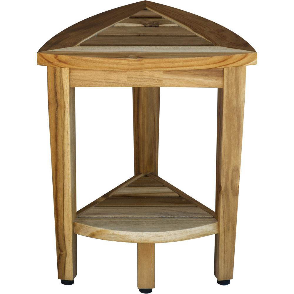 Compact Teak Corner Shower or Outdoor Bench with Shelf in Natural Finish - 376733. Picture 1