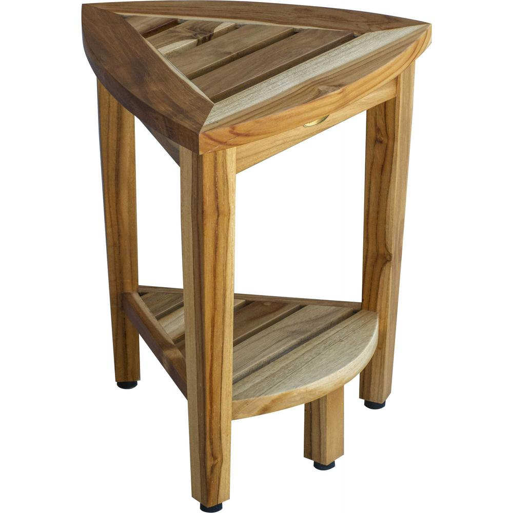 Compact Teak Corner Shower or Outdoor Bench with Shelf in Natural Finish - 376733. Picture 2