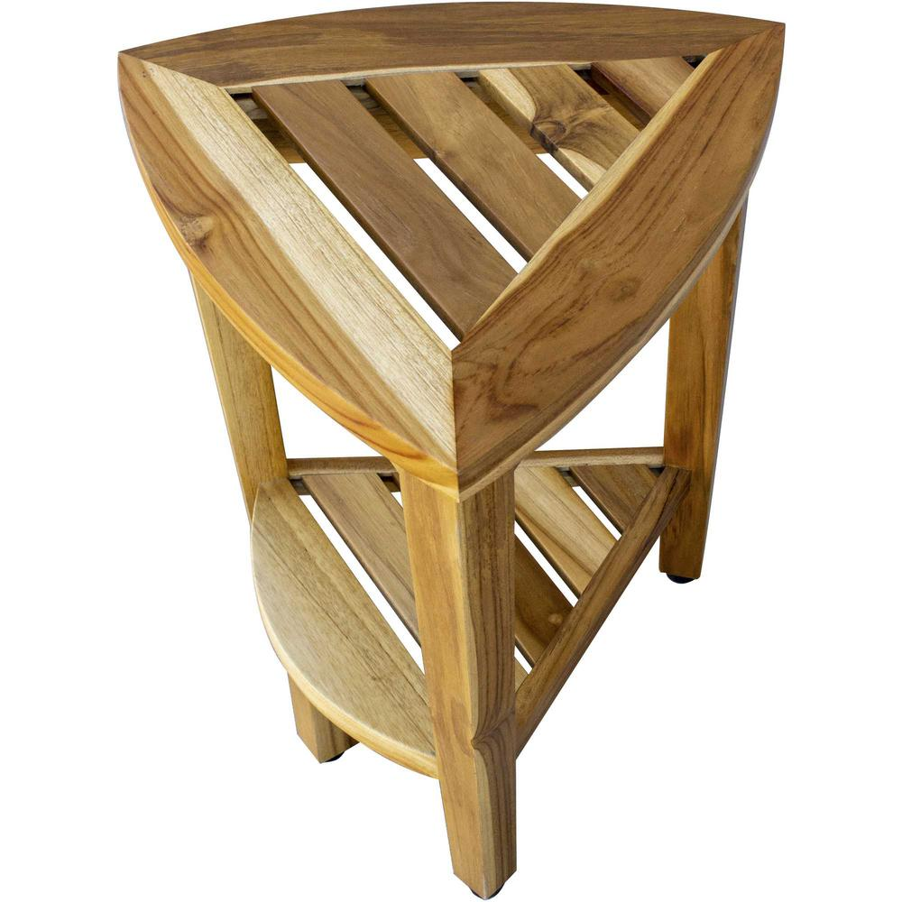 Compact Teak Corner Shower or Outdoor Bench with Shelf in Natural Finish - 376733. Picture 3