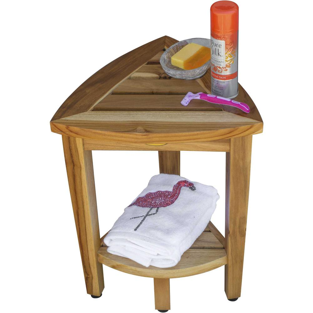 Compact Teak Corner Shower or Outdoor Bench with Shelf in Natural Finish - 376733. Picture 4