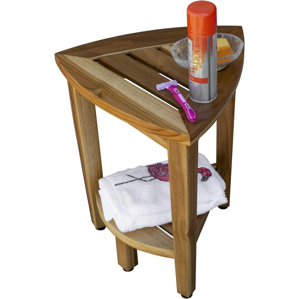 Compact Teak Corner Shower or Outdoor Bench with Shelf in Natural Finish - 376733. Picture 5
