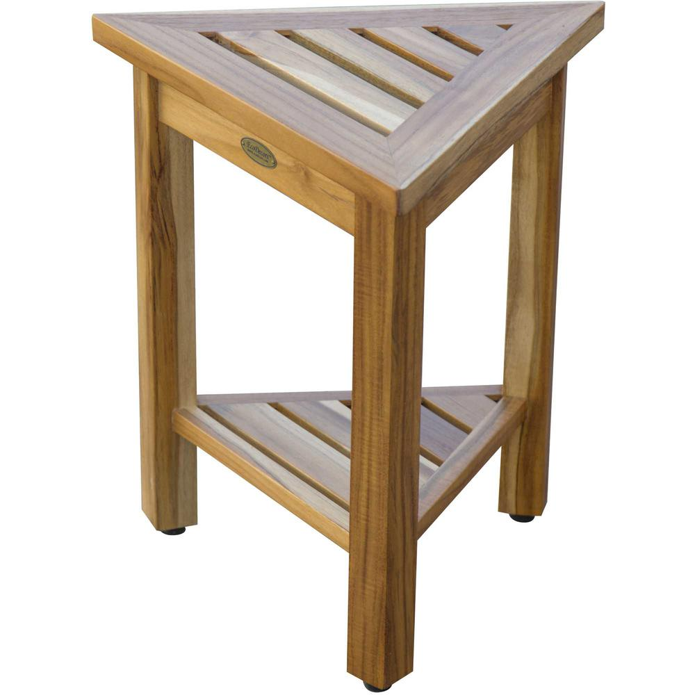 """18"""" Teak Corner Shower Stool or Bench with Shelf in Natural Finish - 376734. Picture 2"""