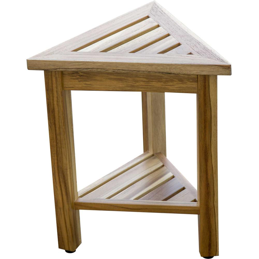 """18"""" Teak Corner Shower Stool or Bench with Shelf in Natural Finish - 376734. Picture 3"""