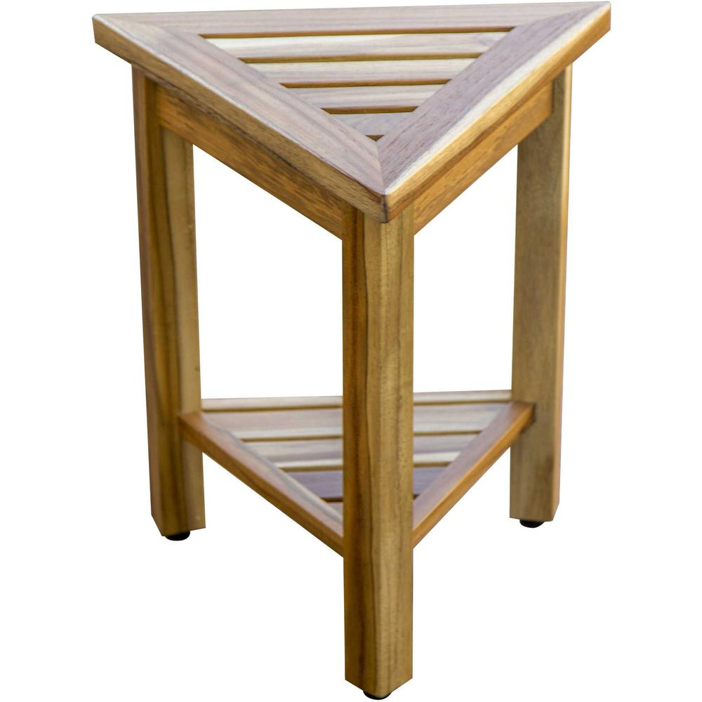 """18"""" Teak Corner Shower Stool or Bench with Shelf in Natural Finish - 376734. Picture 4"""