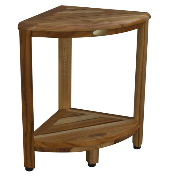 Compact Teak Corner Shower Stool with Shelf in Natural Finish - 376736. Picture 1