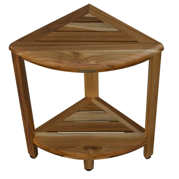 Compact Teak Corner Shower Stool with Shelf in Natural Finish - 376736. Picture 2