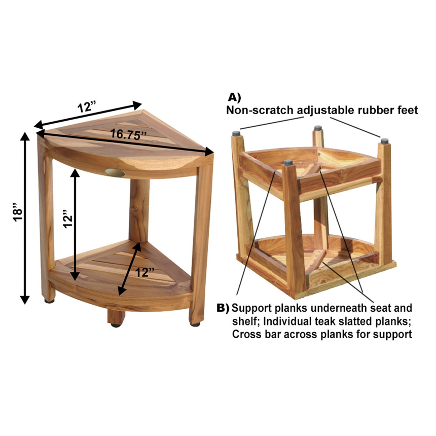 Compact Teak Corner Shower Stool with Shelf in Natural Finish - 376736. Picture 3