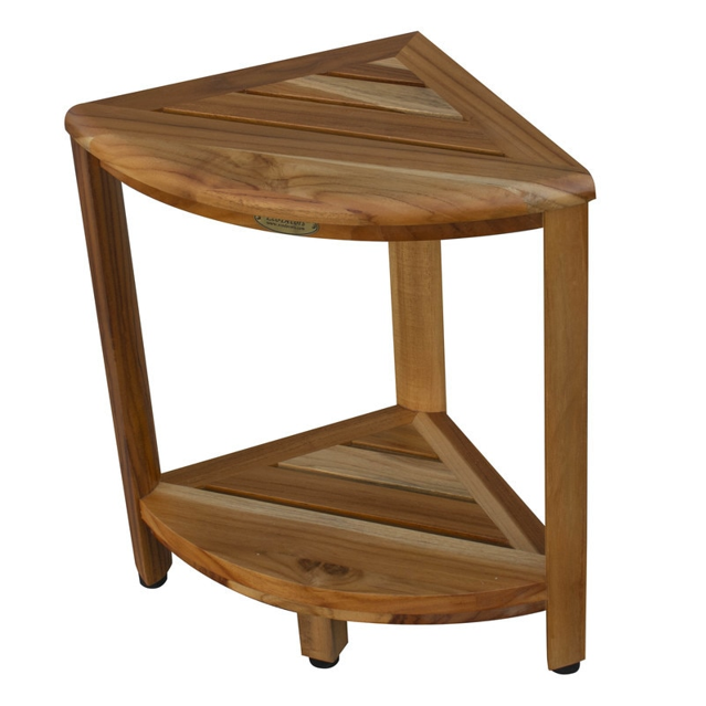 Compact Teak Corner Shower Stool with Shelf in Natural Finish - 376736. Picture 4