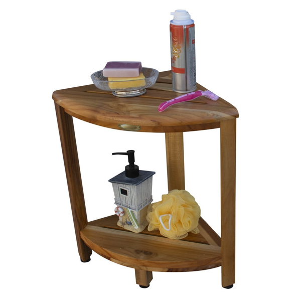 Compact Teak Corner Shower Stool with Shelf in Natural Finish - 376736. Picture 5