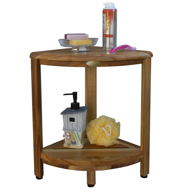 Compact Teak Corner Shower Stool with Shelf in Natural Finish - 376736. Picture 6