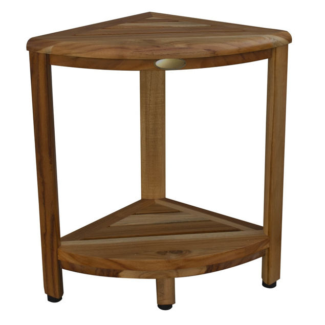 Compact Teak Corner Shower Stool with Shelf in Natural Finish - 376736. Picture 7