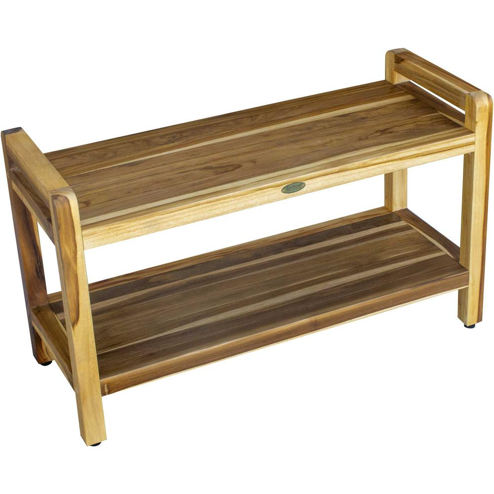 Rectangular Teak Shower Bench with Handles in Natural Finish - 376738. Picture 1