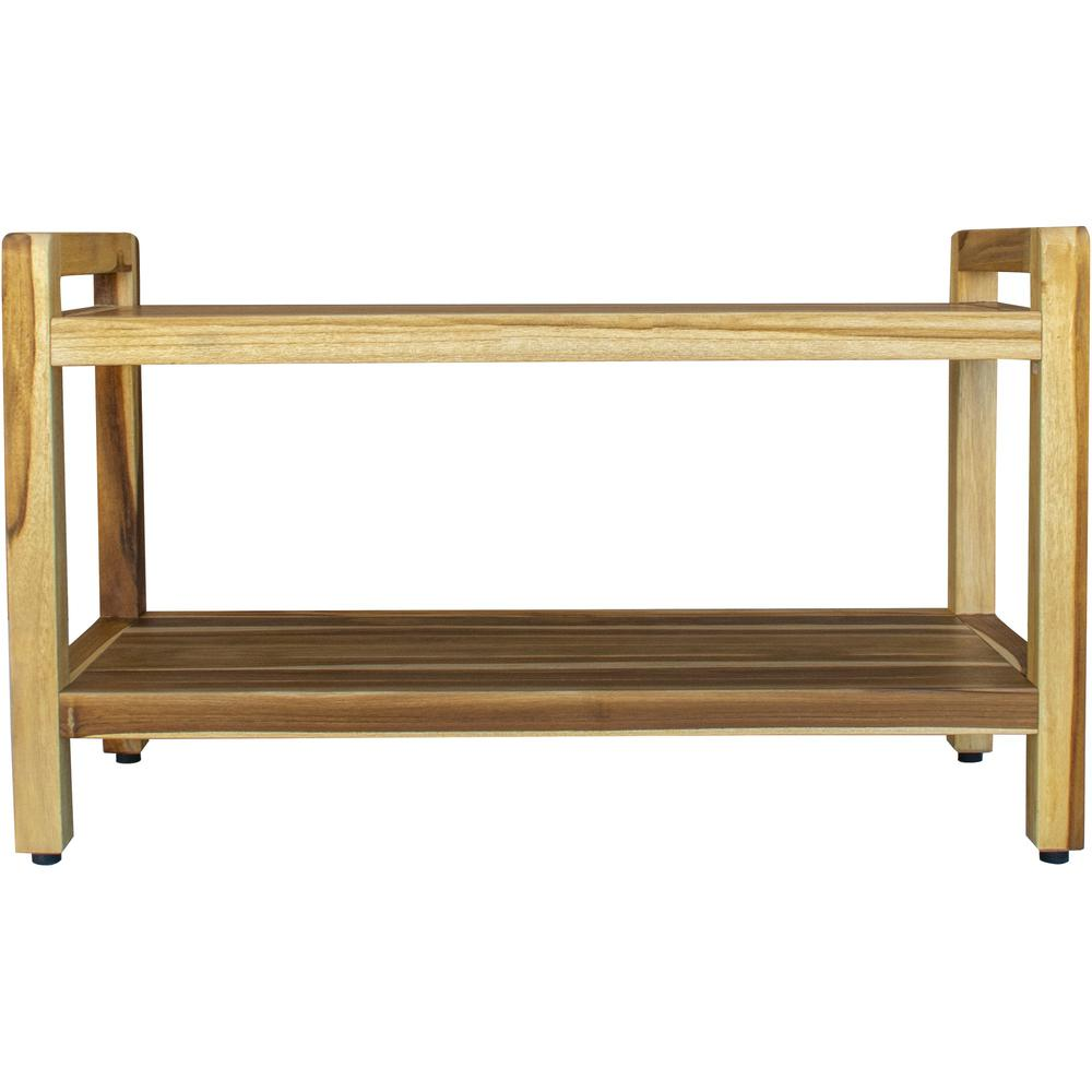 Rectangular Teak Shower Bench with Handles in Natural Finish - 376738. Picture 2