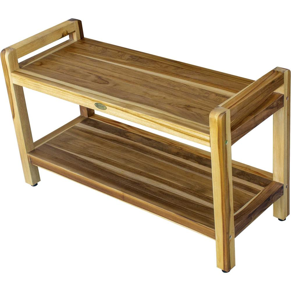 Rectangular Teak Shower Bench with Handles in Natural Finish - 376738. Picture 3