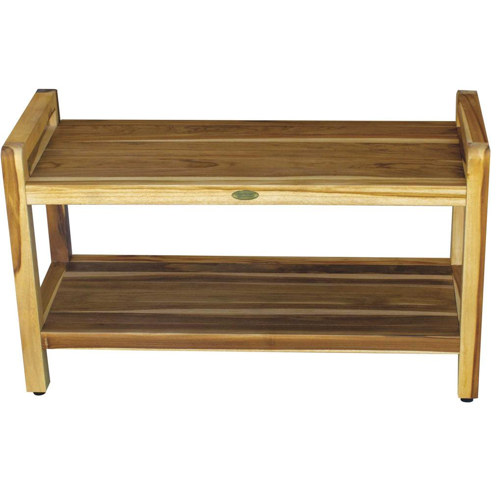 Rectangular Teak Shower Bench with Handles in Natural Finish - 376738. Picture 4