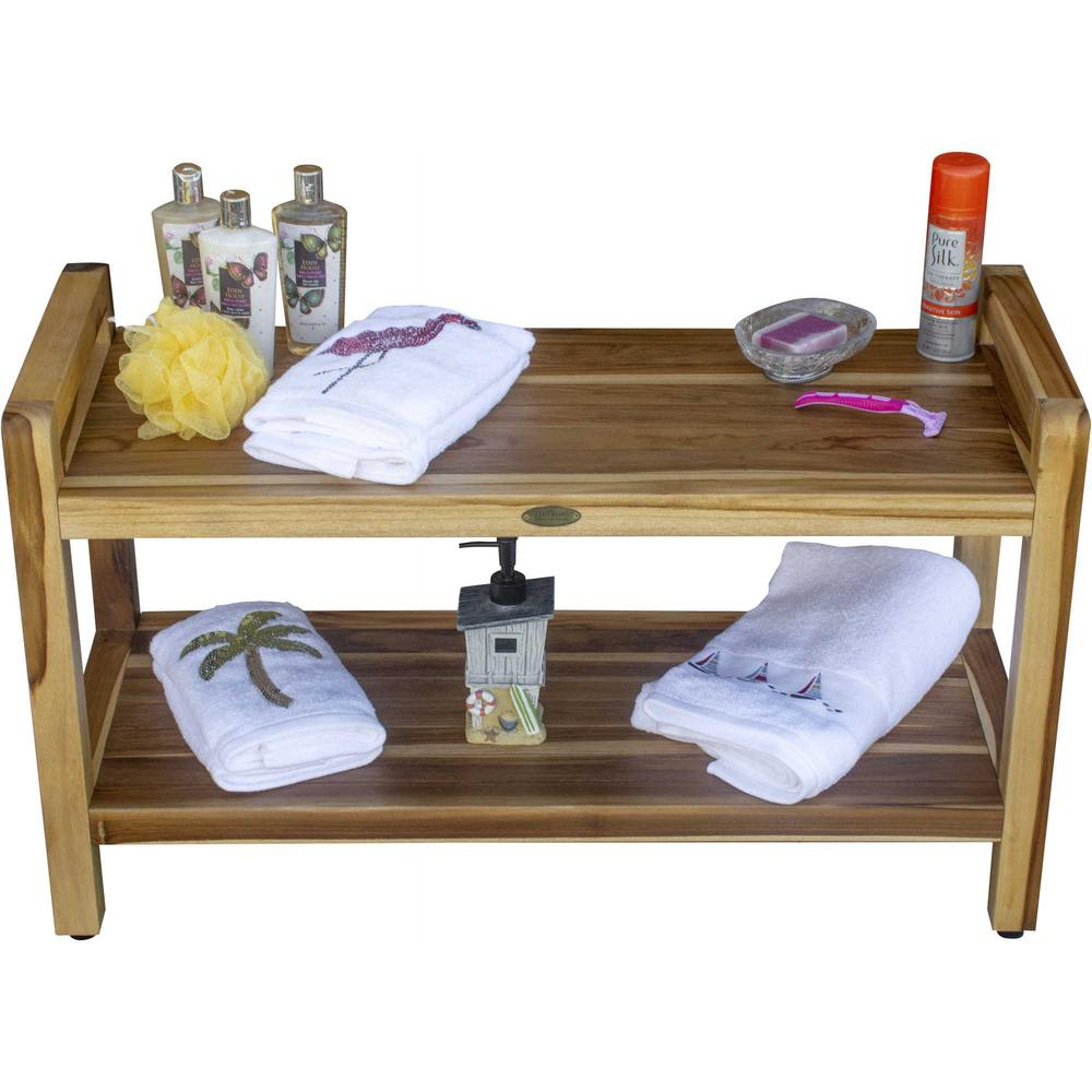 Rectangular Teak Shower Bench with Handles in Natural Finish - 376738. Picture 5