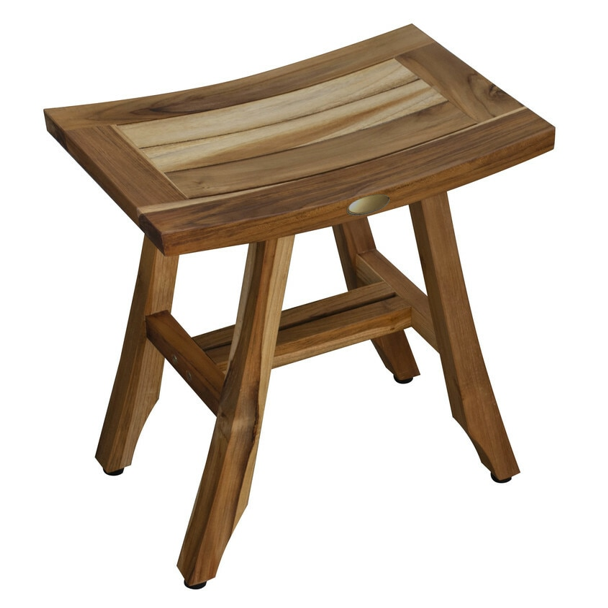 Compact Rectangular Teak Shower or Outdoor Bench in Natural Finish - 376745. Picture 1
