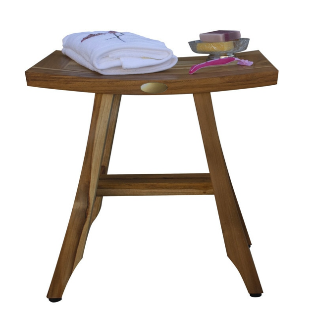 Compact Rectangular Teak Shower or Outdoor Bench in Natural Finish - 376745. Picture 2