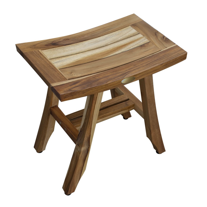 Compact Rectangular Teak Shower or Outdoor Bench in Natural Finish - 376745. Picture 4