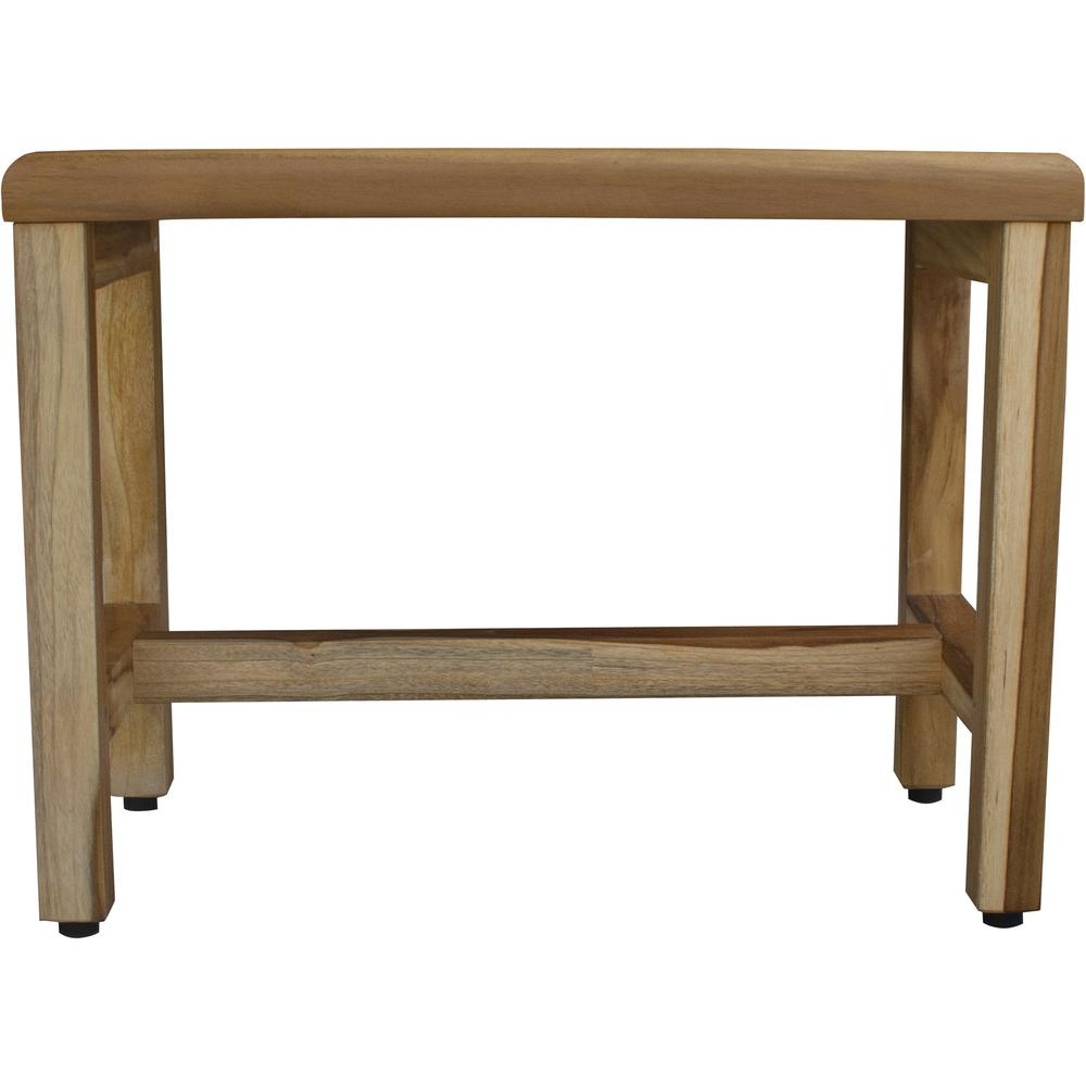 Compact Rectangular Teak Shower  Outdoor Bench with Shelf in Natural Finish - 376748. Picture 2