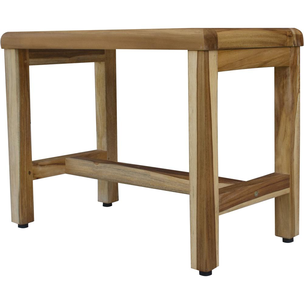 Compact Rectangular Teak Shower  Outdoor Bench with Shelf in Natural Finish - 376748. Picture 3