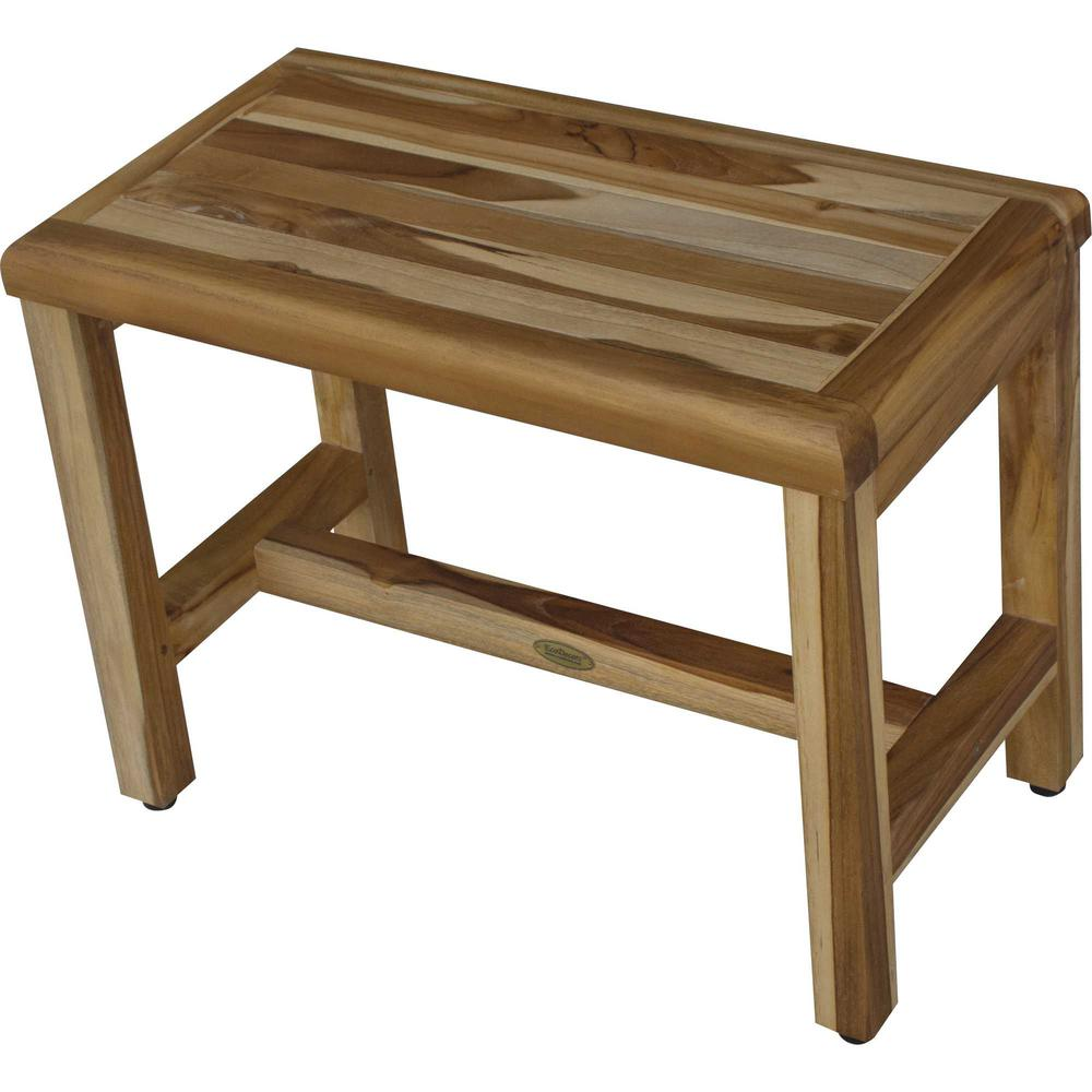 Compact Rectangular Teak Shower  Outdoor Bench with Shelf in Natural Finish - 376748. Picture 4