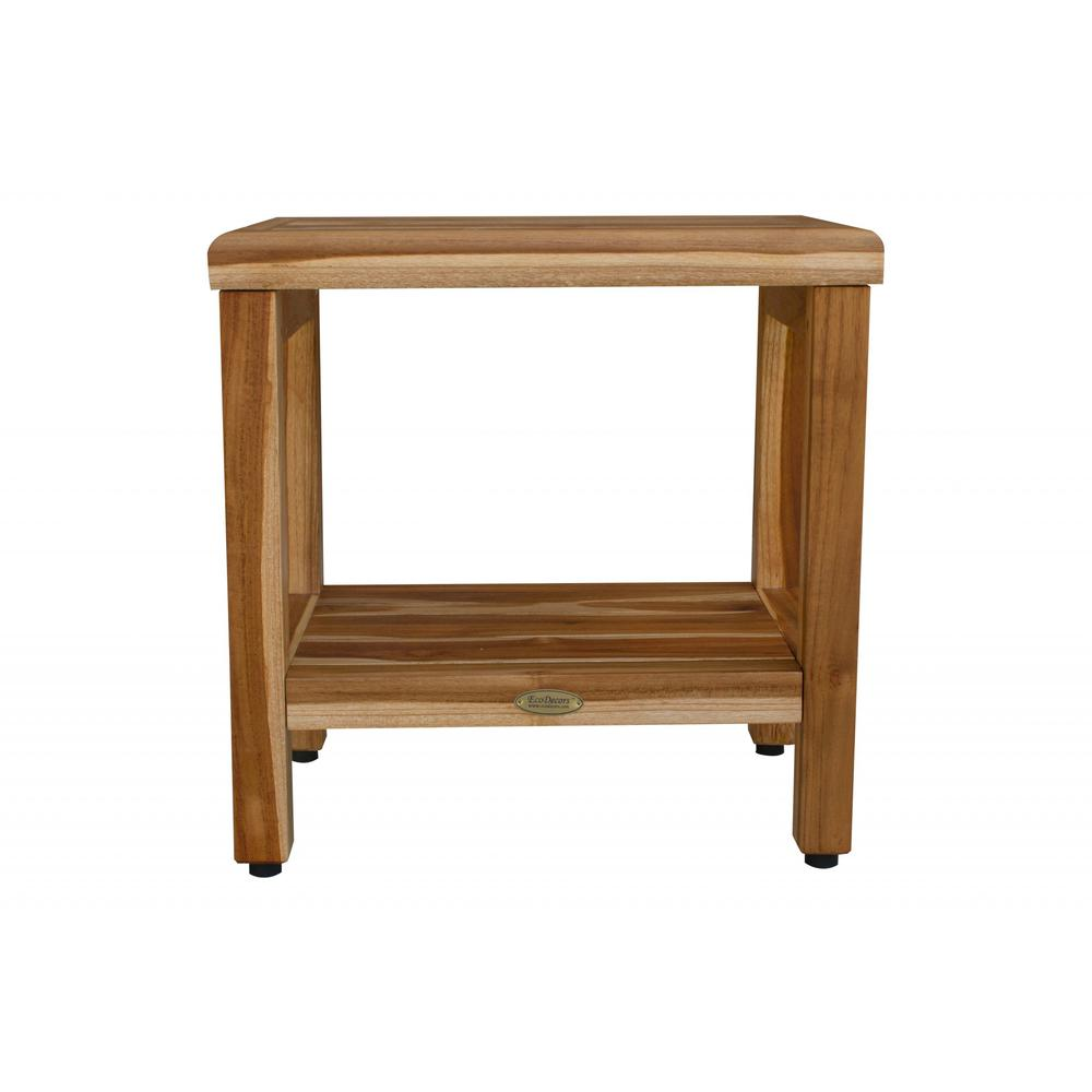 """18"""" Contemporary Teak Shower Stool or Bench with Shelf in Natural Finish - 376749. Picture 1"""