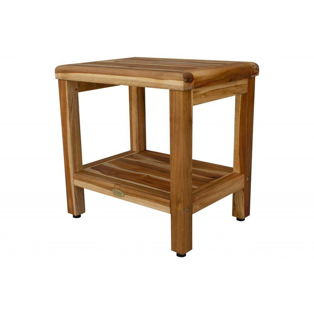 """18"""" Contemporary Teak Shower Stool or Bench with Shelf in Natural Finish - 376749. Picture 2"""