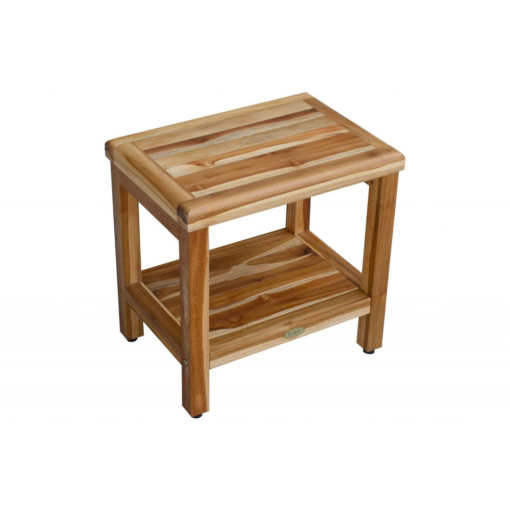 """18"""" Contemporary Teak Shower Stool or Bench with Shelf in Natural Finish - 376749. Picture 3"""