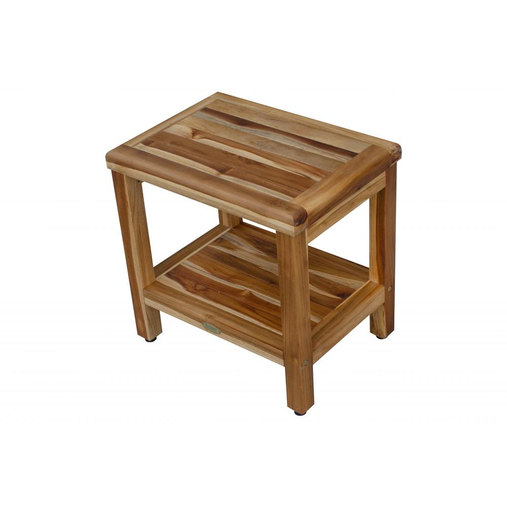 """18"""" Contemporary Teak Shower Stool or Bench with Shelf in Natural Finish - 376749. Picture 4"""