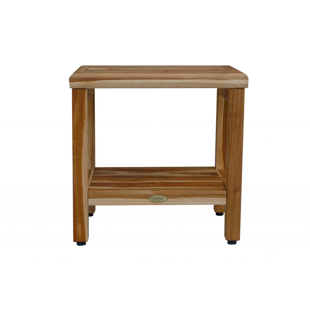 """18"""" Contemporary Teak Shower Stool or Bench with Shelf in Natural Finish - 376749. Picture 5"""