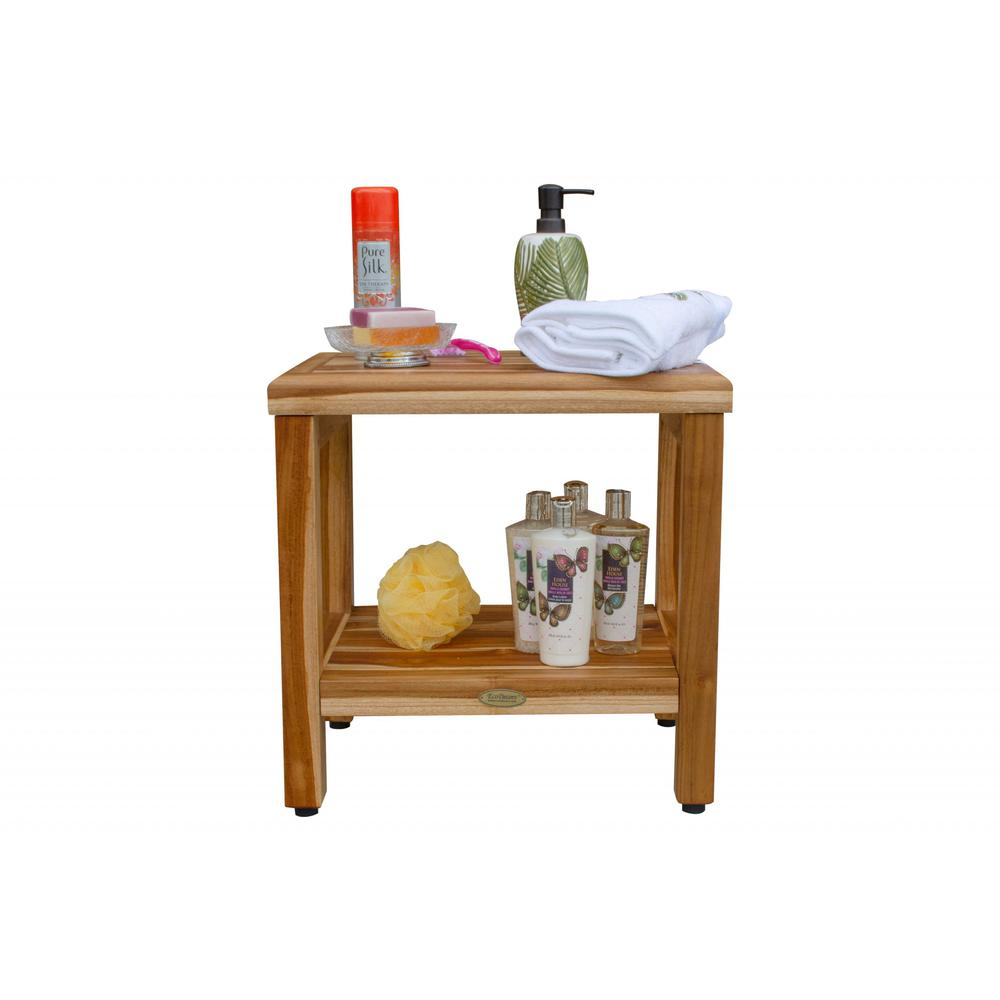 """18"""" Contemporary Teak Shower Stool or Bench with Shelf in Natural Finish - 376749. Picture 6"""