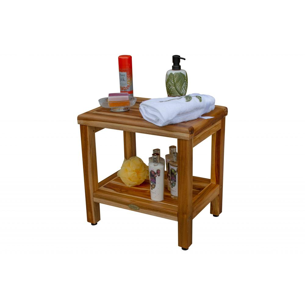"""18"""" Contemporary Teak Shower Stool or Bench with Shelf in Natural Finish - 376749. Picture 7"""