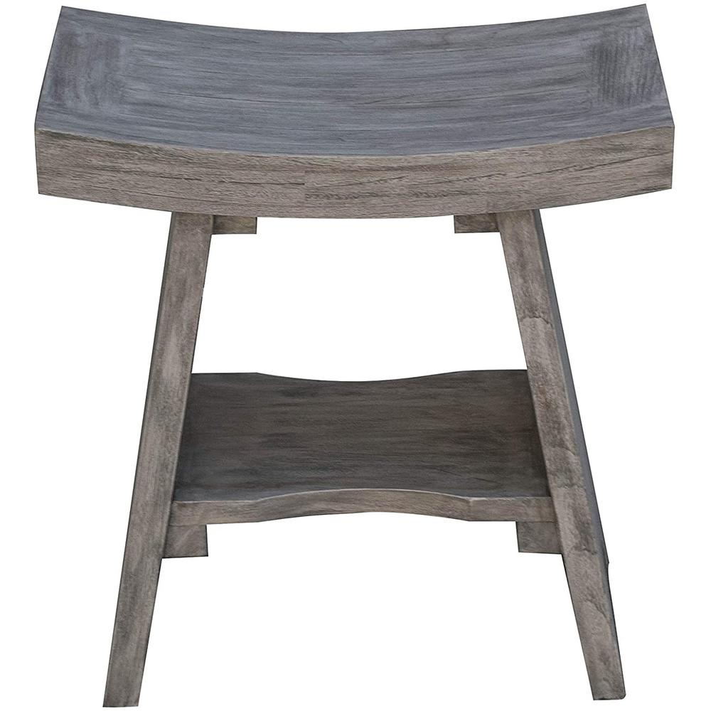 Contemporary Teak Shower or Bench with Shelf in Gray Finish - 376753. Picture 1
