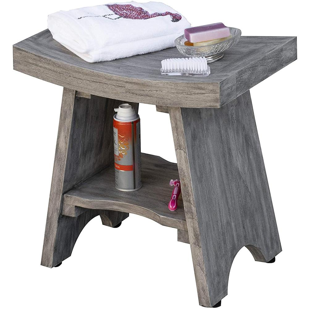 Contemporary Teak Shower or Bench with Shelf in Gray Finish - 376753. Picture 5