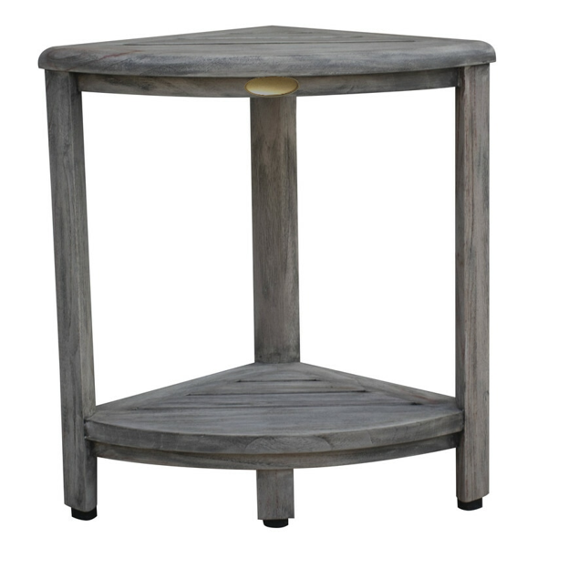 Compact Teak Corner Shower Outdoor Bench in Coquina Finish - 376757. Picture 1