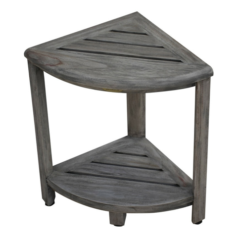 Compact Teak Corner Shower Outdoor Bench in Coquina Finish - 376757. Picture 2
