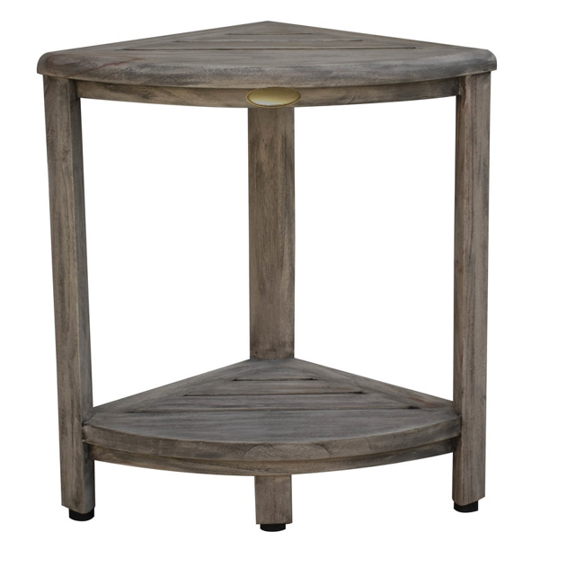 Compact Teak Corner Shower Outdoor Bench in Coquina Finish - 376757. Picture 3