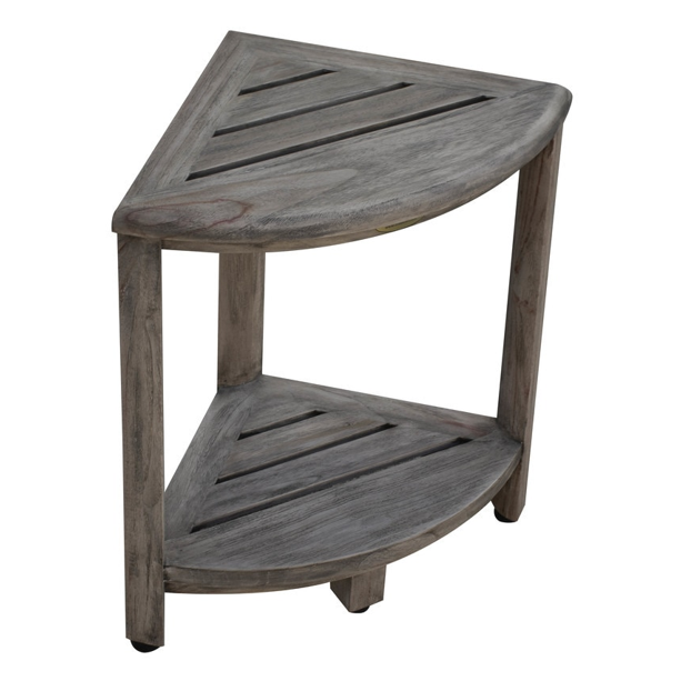 Compact Teak Corner Shower Outdoor Bench in Coquina Finish - 376757. Picture 4