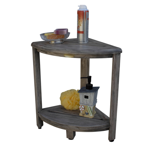 Compact Teak Corner Shower Outdoor Bench in Coquina Finish - 376757. Picture 5