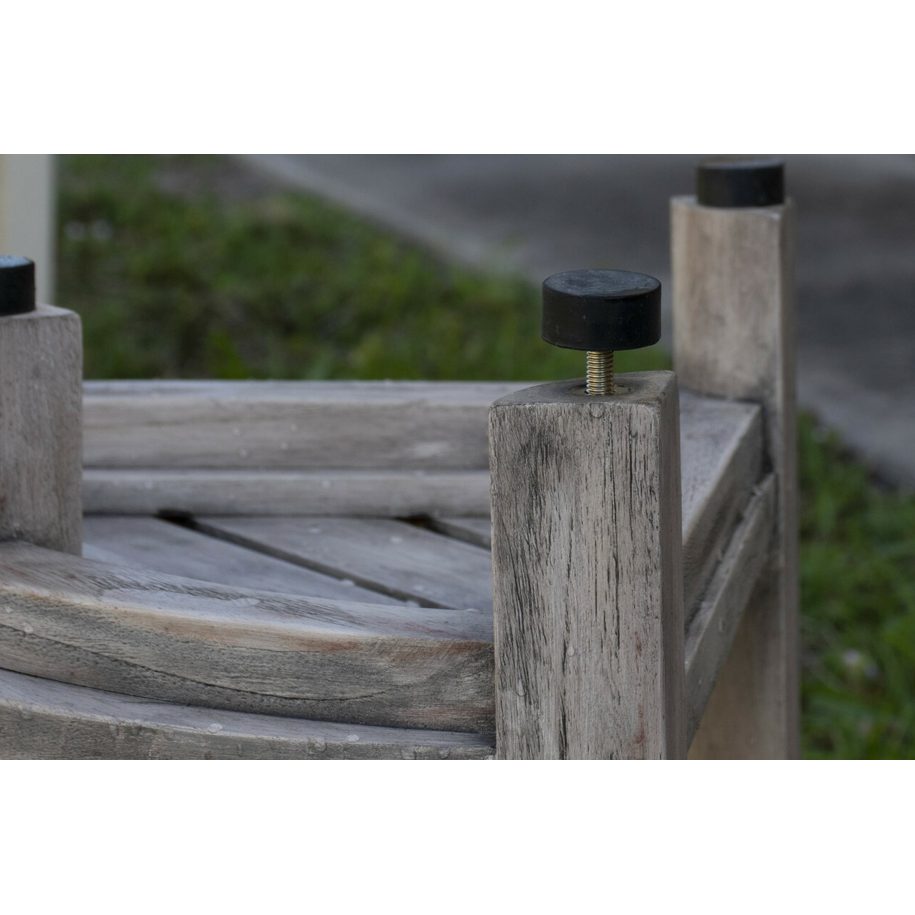 Compact Teak Corner Shower Outdoor Bench in Coquina Finish - 376757. Picture 6