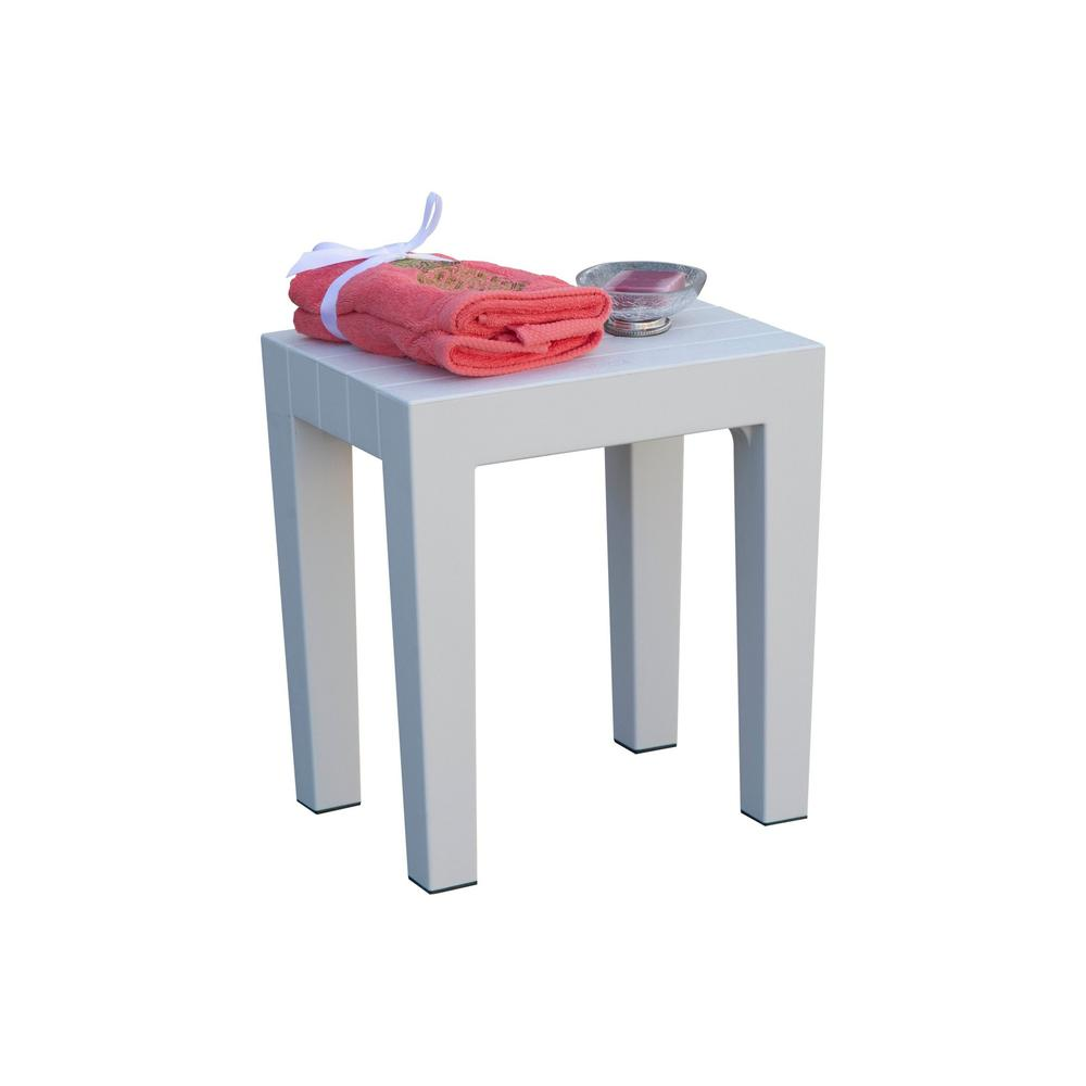 Super Sturdy Plastic Shower Stool in White - 376777. Picture 4