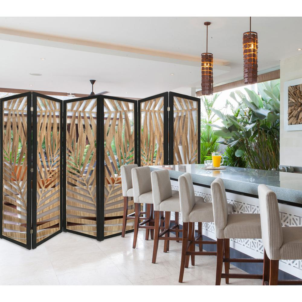 3 Panel Room Divider with Tropical Leaf Design - 376792. Picture 1