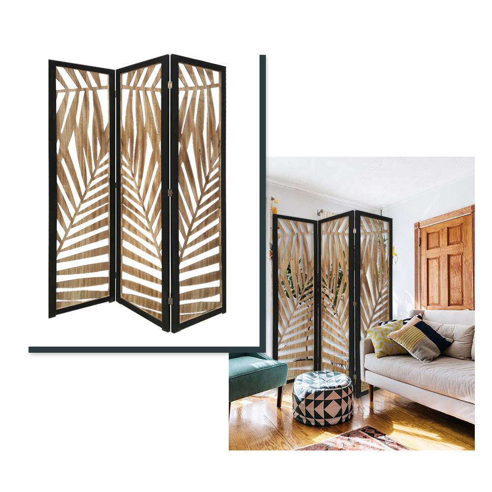 3 Panel Room Divider with Tropical Leaf Design - 376792. Picture 2