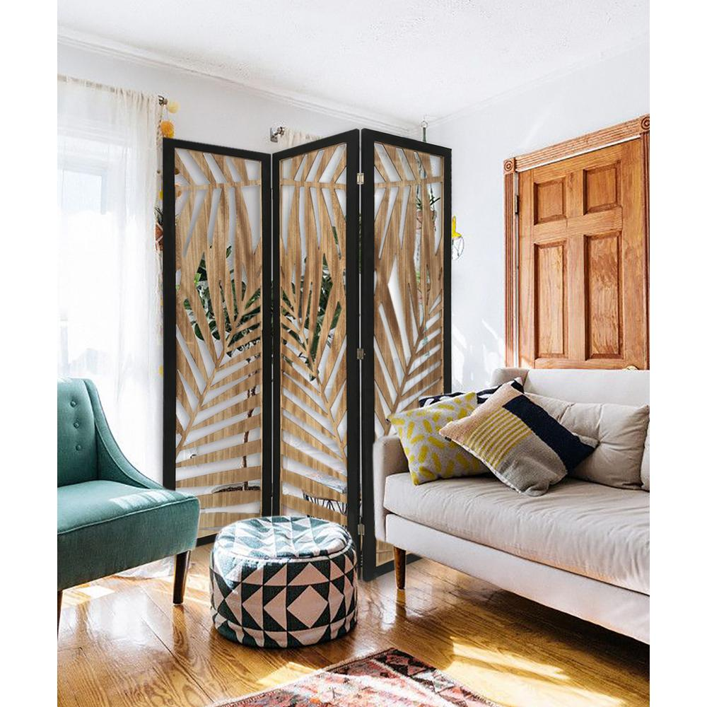3 Panel Room Divider with Tropical Leaf Design - 376792. Picture 3