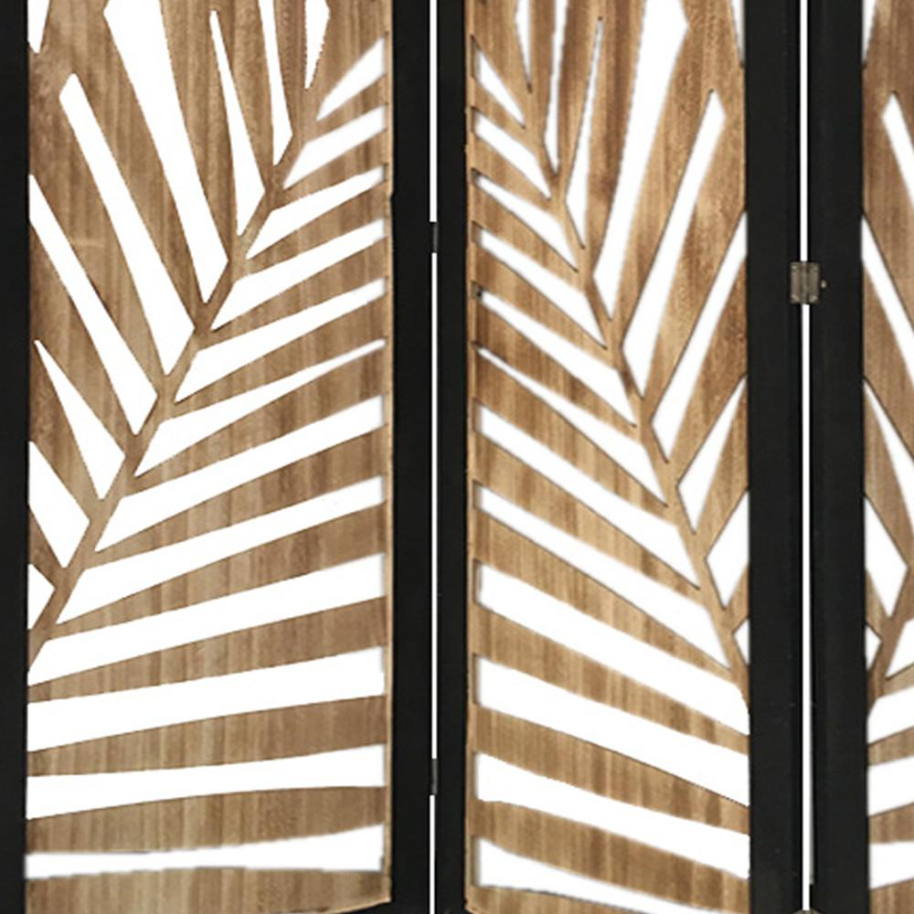 3 Panel Room Divider with Tropical Leaf Design - 376792. Picture 4
