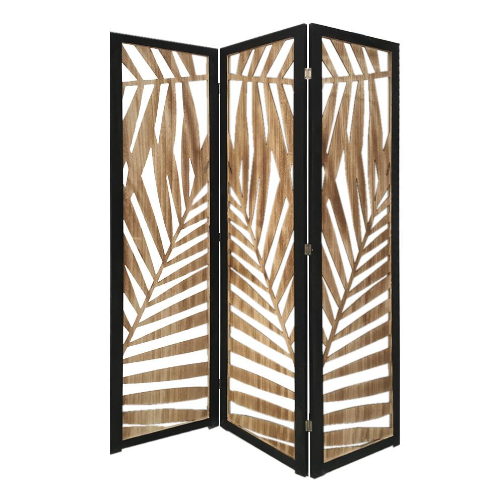 3 Panel Room Divider with Tropical Leaf Design - 376792. Picture 5