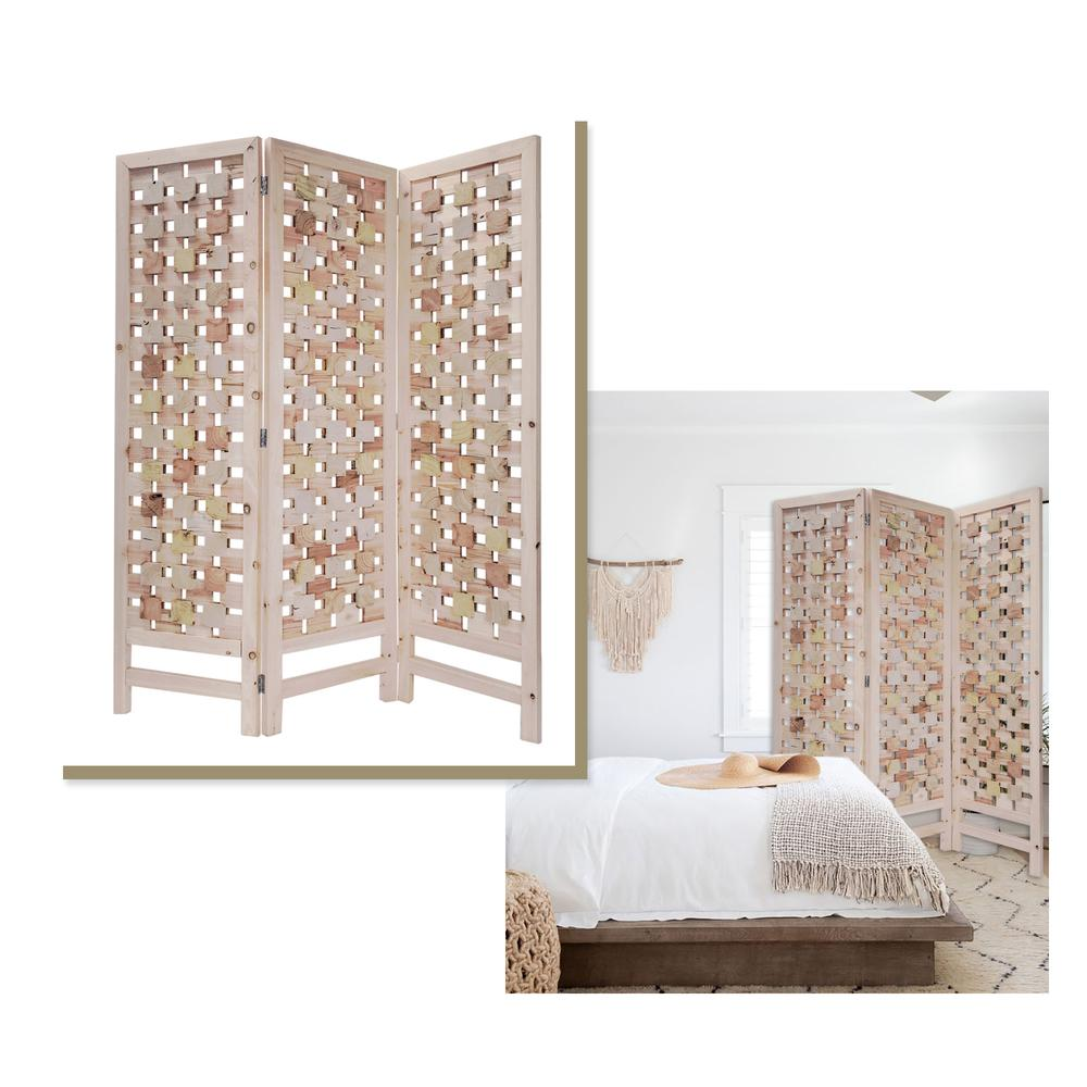 3 Panel Pink Room Divider with Cut Square Wood Design - 376799. Picture 1