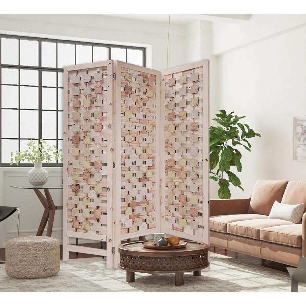 3 Panel Pink Room Divider with Cut Square Wood Design - 376799. Picture 3