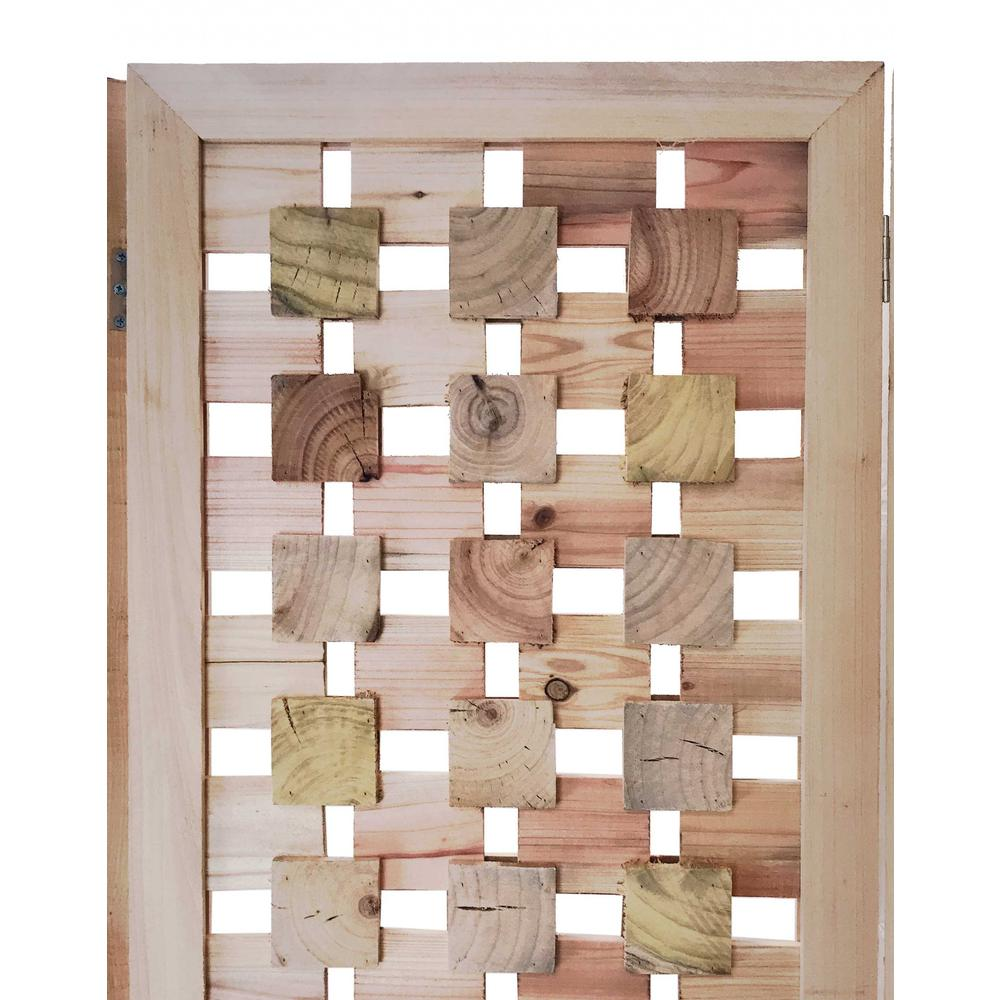 3 Panel Pink Room Divider with Cut Square Wood Design - 376799. Picture 4